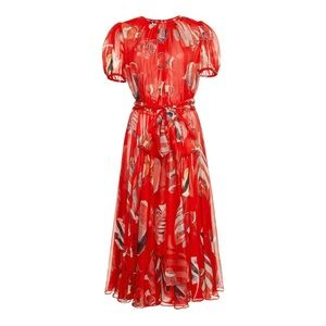 Dolce and Gabbana Red Silk Chiffon Fish Dress NWT
